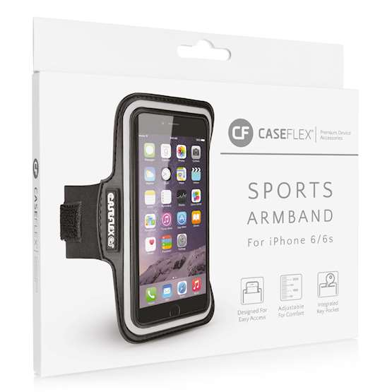 Caseflex iPhone 6 and 6s Armband - Black (Retail Box)