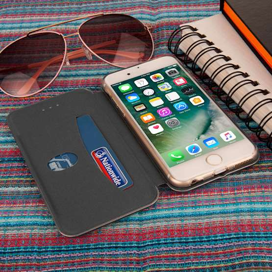 Caseflex iPhone 6 and 6s Leather-Effect Stand Wallet with Felt Lining - Grey