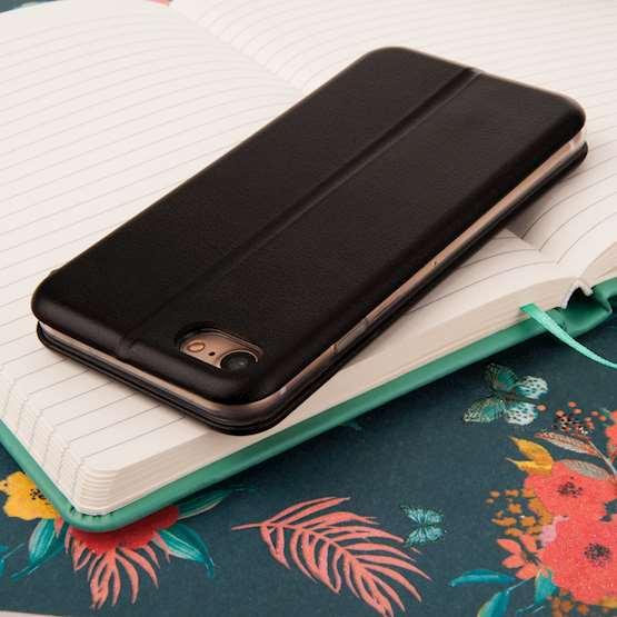 Caseflex iPhone 7 Leather-Effect Embossed Stand Wallet with Felt Lining - Black (Retail Box)