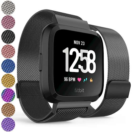 Replacement Strap for Fitbit Versa - Metal Milanese Band for Fitbit Versa - Black