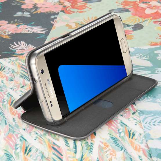 Caseflex Samsung Galaxy S7 Leather-Effect Embossed Stand Wallet with Felt Lining - Grey (Retail Box)