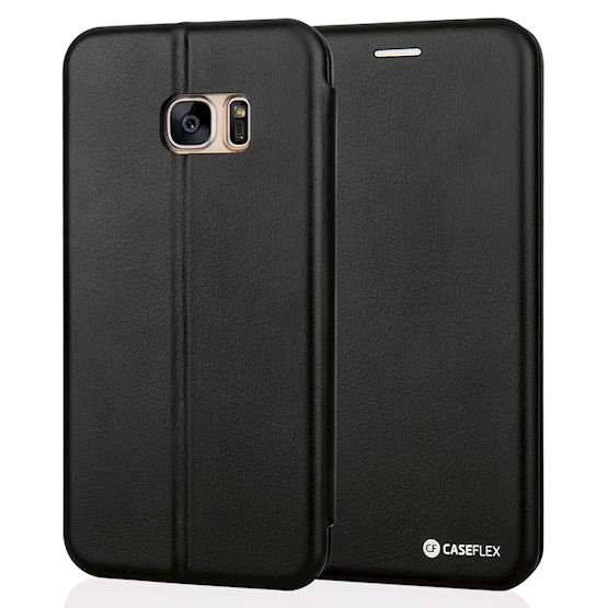 Caseflex Samsung Galaxy S7 Edge Leather-Effect Embossed Stand Wallet with Felt Lining - Black (Retail Box)
