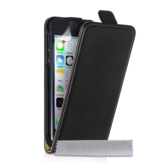 Caseflex iPhone SE Real Leather Flip Case - Black