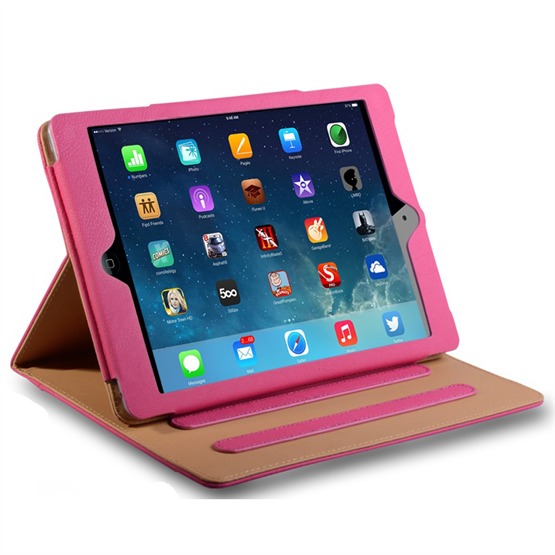 Caseflex iPad Air Leather-Effect Stand Case - Hot Pink