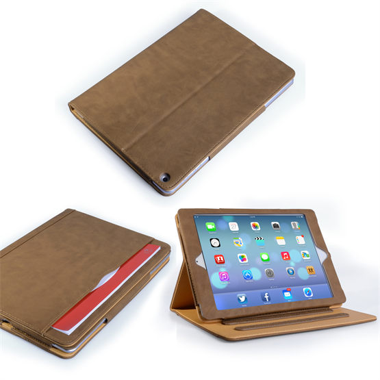 Caseflex iPad Air Dark Leather-Effect Flip Case -  Brown with Tan Lining