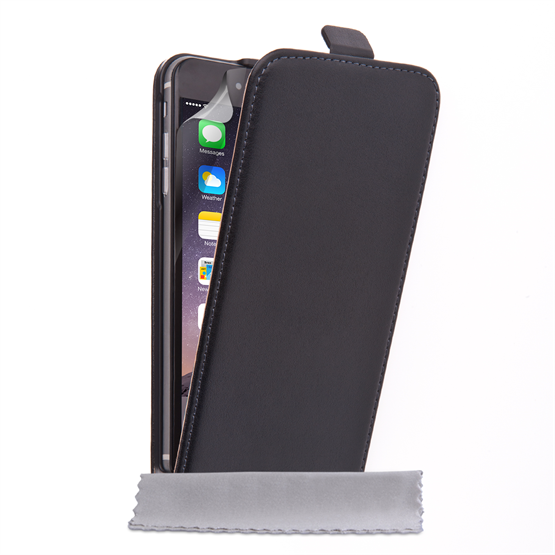Caseflex iPhone 6 Plus and 6s Plus Real Leather Flip Case - Black