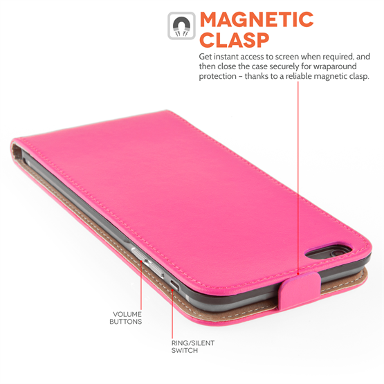 Caseflex iPhone 6 Plus and 6s Plus Real Leather Flip Case - Hot Pink