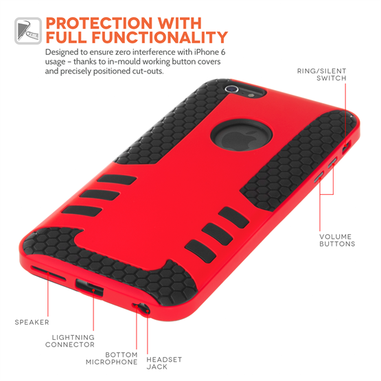 Caseflex iPhone 6 / 6s Border Combo Case - Red