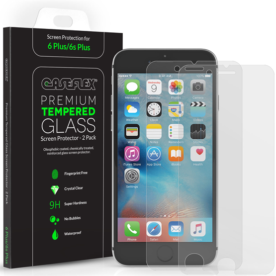 Caseflex iPhone 6S Plus Screen Protector Tempered Glass - 2 Pack [3D Touch Compatible 0.2mm Thickness / 9H Hardness Rating]