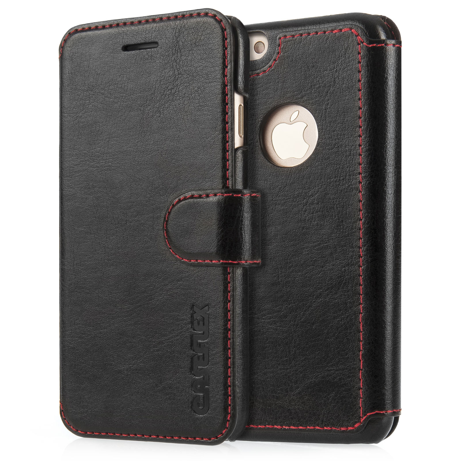 low priced c551c 1f8ea Caseflex iPhone 7 Leather-Effect Wallet Case - Black with Red Stitching  (Retail Box)