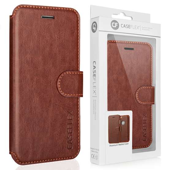 Caseflex iPhone 7 Leather-Effect Wallet Case - Brown with Red Lining