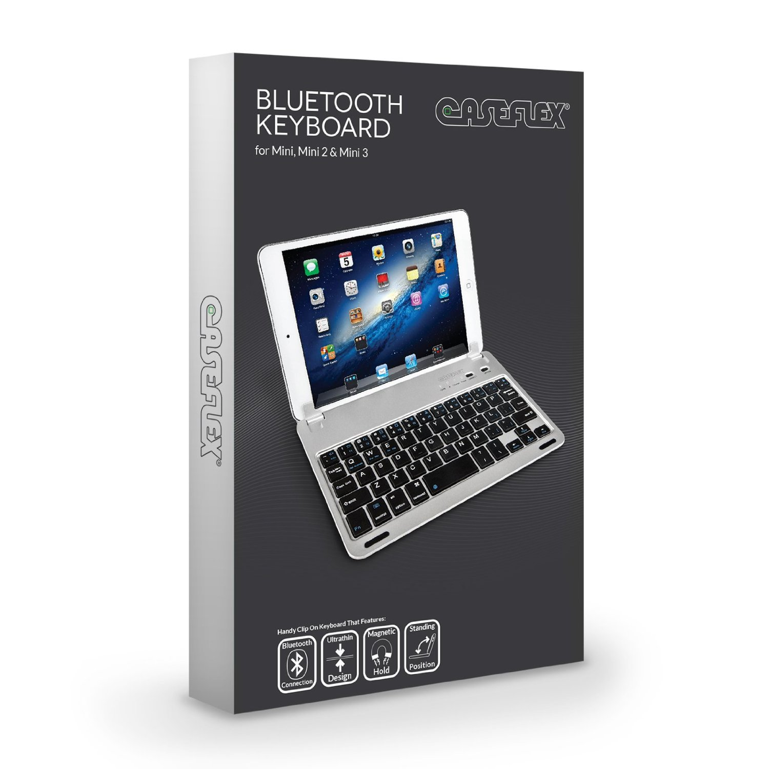 c37524491c7 Caseflex Ultra Thin Silver Bluetooth Keyboard With Magnetic Grip & Holding  Stand for iPad Mini, ...