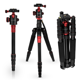 Caseflex Premium Alloy Camera Tripod Pro Red