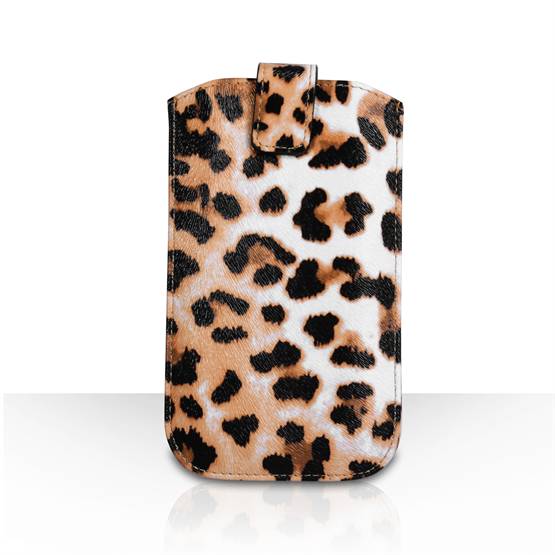 Caseflex Leather-Effect Auto Return Pull Tab Pouch (S) - Leopard Print