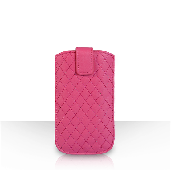 Caseflex Diamond Pattern Leather-Effect Auto Return Pull Tab Pouch (L) - Hot Pink