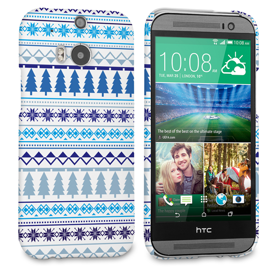 Caseflex HTC One M8 Fairisle Christmas Tree Hard  - White / Blue