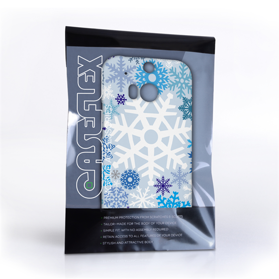 Caseflex HTC One M8 Winter Christmas Snowflake Hard Case - White / Blue