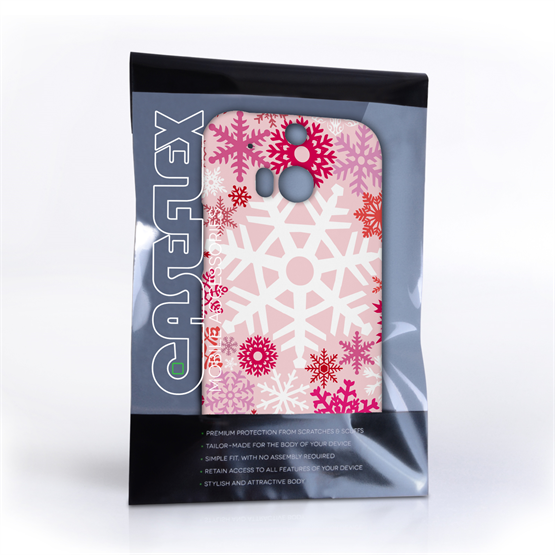 Caseflex HTC One M8 Winter Christmas Snowflake Hard Case - Red / Pink