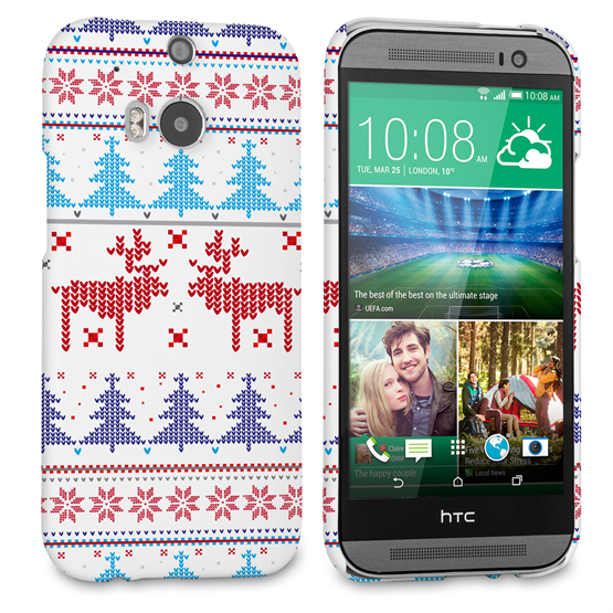 Caseflex HTC One M8 Christmas Heart Reindeer Tree Jumper Hard Case