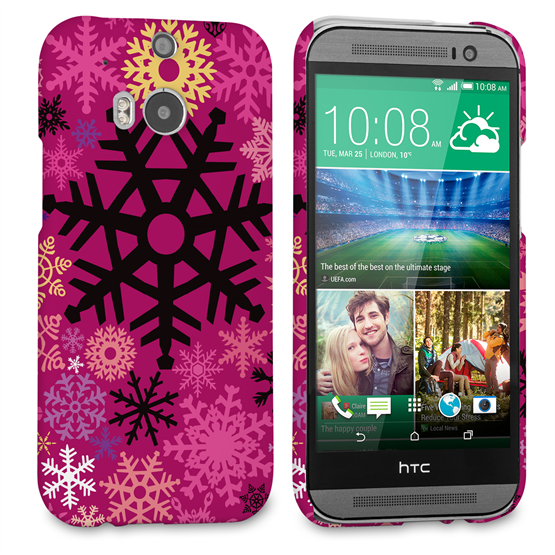 Caseflex HTC One M8 Christmas Winter Snowflake Hard Case - Burgundy