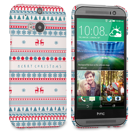 Caseflex HTC One M8 Merry Christmas Reindeer Snowflake Pattern Hard Case