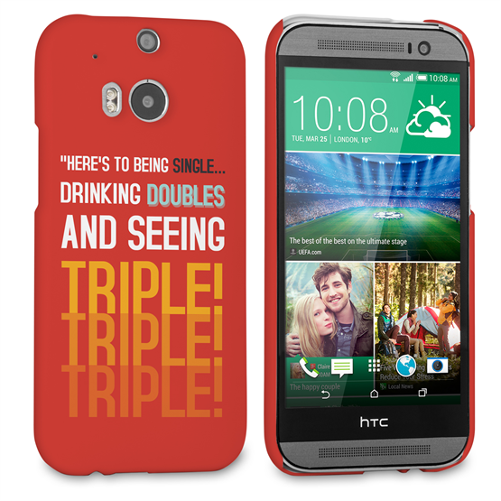 Caseflex HTC One M8 Single, Double, Triple Quote Hard Case – Red