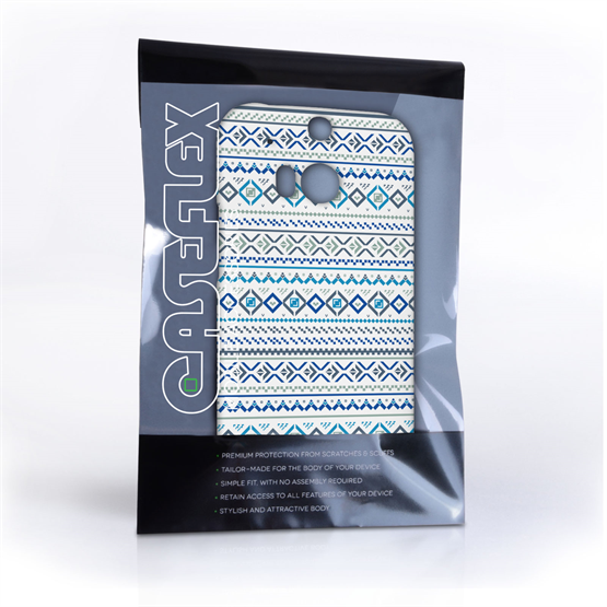 Caseflex HTC One M8 Fairisle Case – Blue with White Background