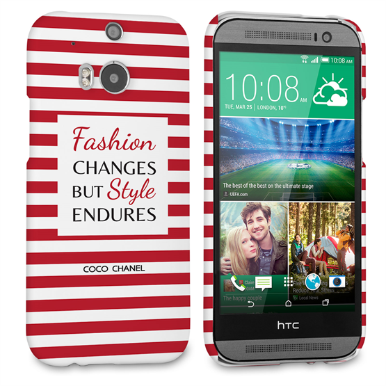 Caseflex HTC One M8 Chanel 'Fashion Changes' Quote Case – Red and White