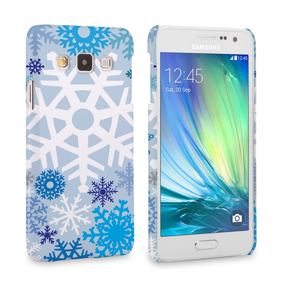 Caseflex Samsung Galaxy A3 Winter Christmas Snowflake Hard Case - White / Blue