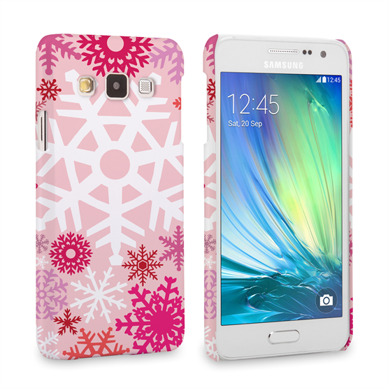Caseflex Samsung Galaxy A3 Winter Christmas Snowflake Hard Case - Red / Pink