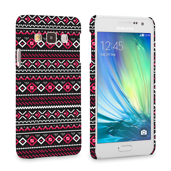 Caseflex Samsung Galaxy A3 Fairisle Case – Grey with Red Background