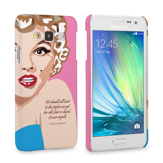 Caseflex Samsung Galaxy A3 Marilyn Monroe 'Fear is Stupid' Quote Case