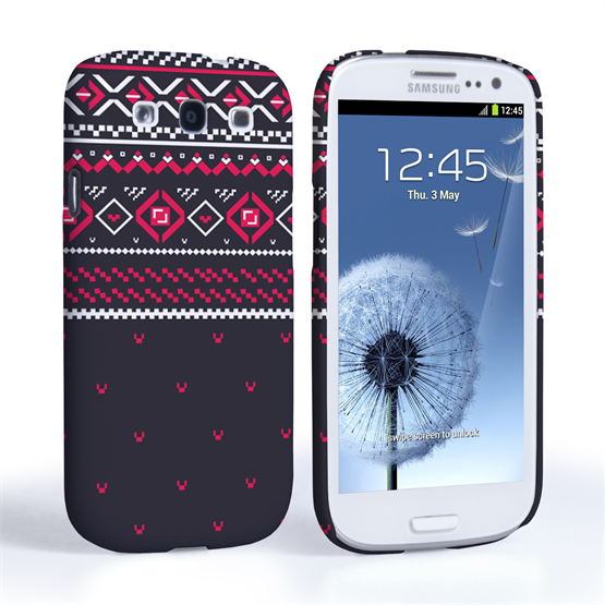 Caseflex Samsung Galaxy S3 Fairisle Case – Grey and Red Half Pattern