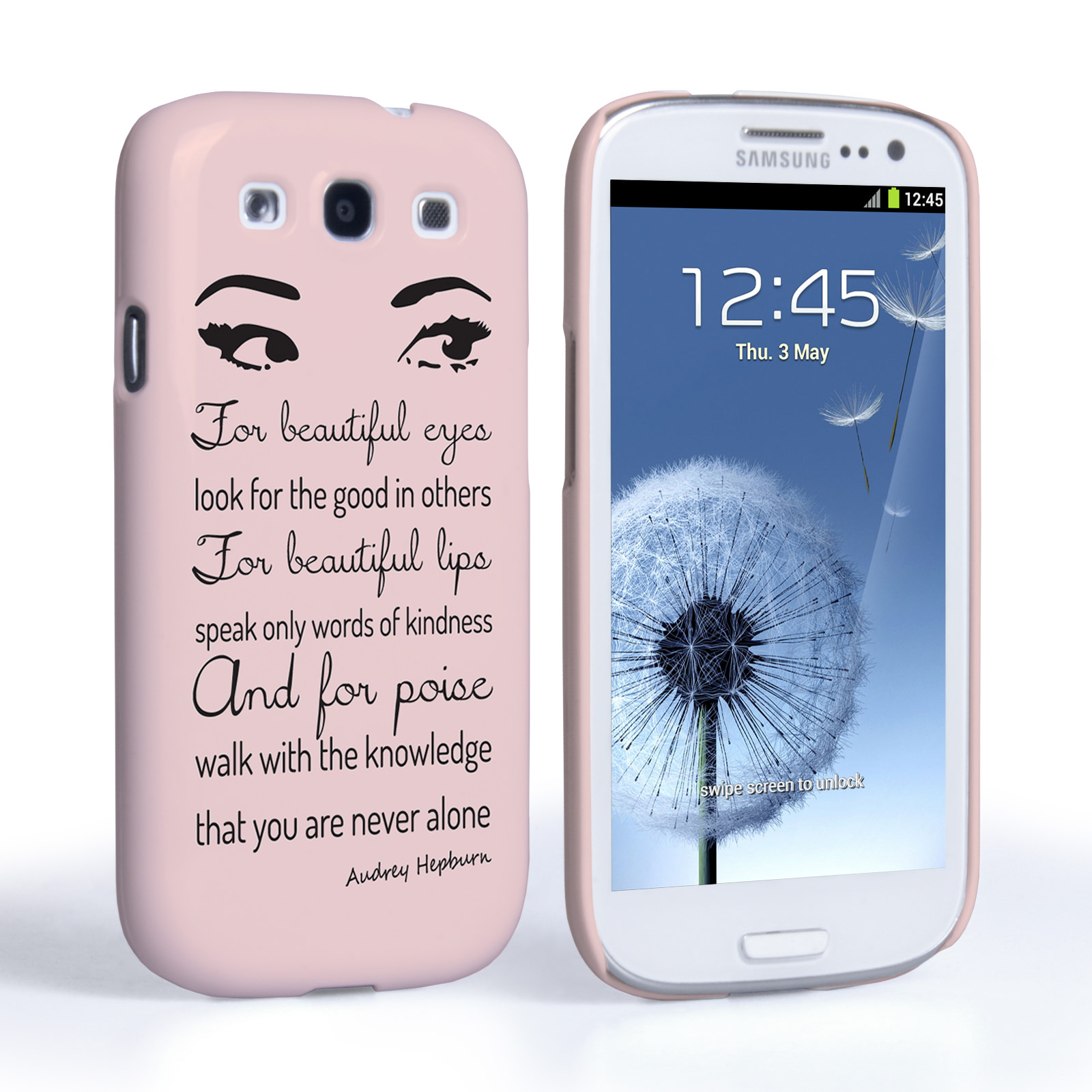Samsung Quote Caseflex Samsung Galaxy S3 Audrey Hepburn 'eyes' Quote Case