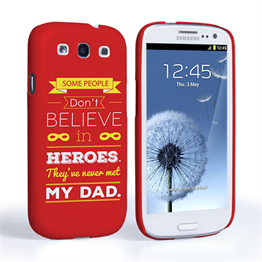 Caseflex Dad Heroes Quote Samsung Galaxy S3 Case - Red