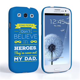 Caseflex Dad Heroes Quote Samsung Galaxy S3 Case - Blue