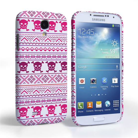 Caseflex Samsung Galaxy S4 Fairisle Case – Pink Skull White Background