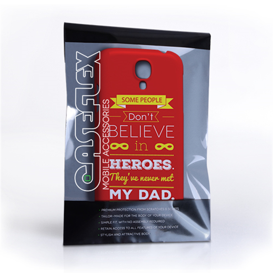 Caseflex Dad Heroes Quote Samsung Galaxy S4 Case - Red