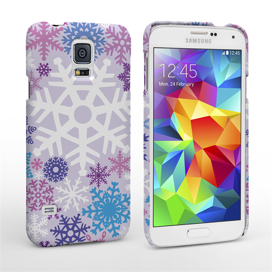 Caseflex Samsung Galaxy S5 Winter Christmas Snowflake Hard Case Purple / Blue