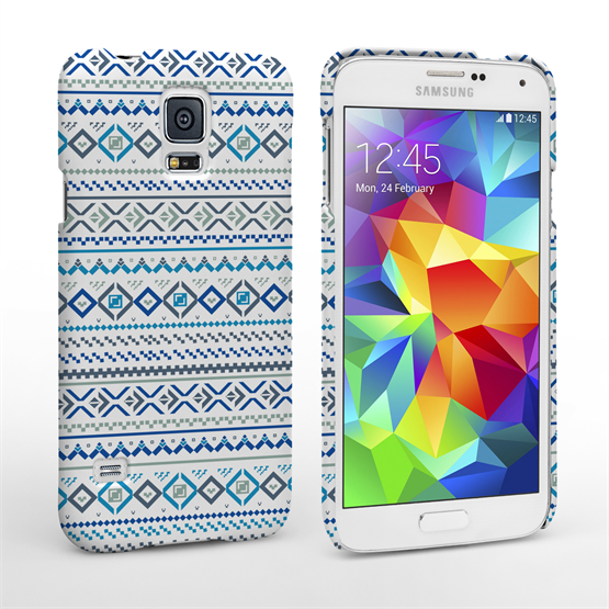 Caseflex Samsung Galaxy S5 Fairisle Case – Blue with White Background