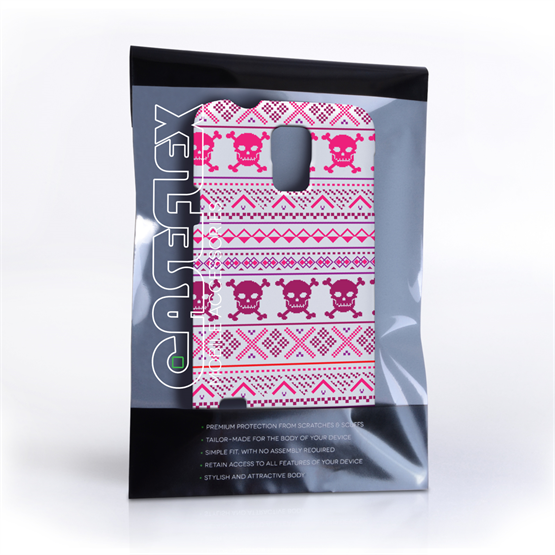 Caseflex Samsung Galaxy S5 Fairisle Case – Pink Skull White Background
