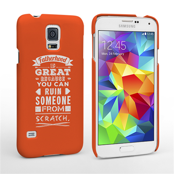 best service efb58 d0c2a Caseflex Fatherhood Funny Quote Samsung Galaxy S5 Case – Orange