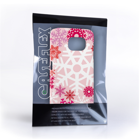 Caseflex Samsung Galaxy S6 Winter Christmas Snowflake Hard Case - White / Blue