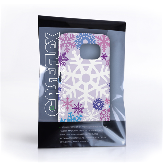 Caseflex Samsung Galaxy S6 Winter Christmas Snowflake Hard Case - Purple / Blue