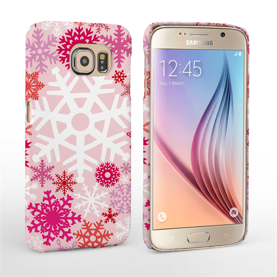 Caseflex Samsung Galaxy S6 Winter Christmas Snowflake Hard Case - Red / Pink