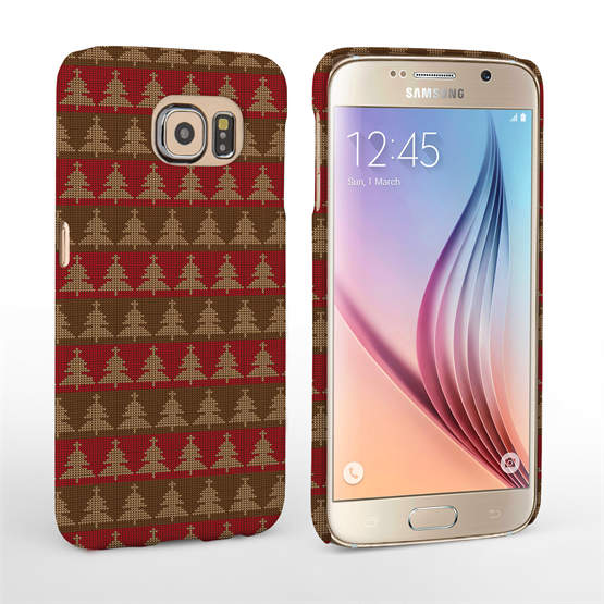 Caseflex Samsung Galaxy S6 Christmas Tree Knit Jumper Hard Case - Brown / Red