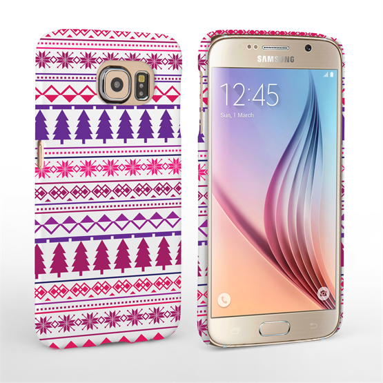 Caseflex Samsung Galaxy S6 Christmas Tree Hard Case - Pink / Purple