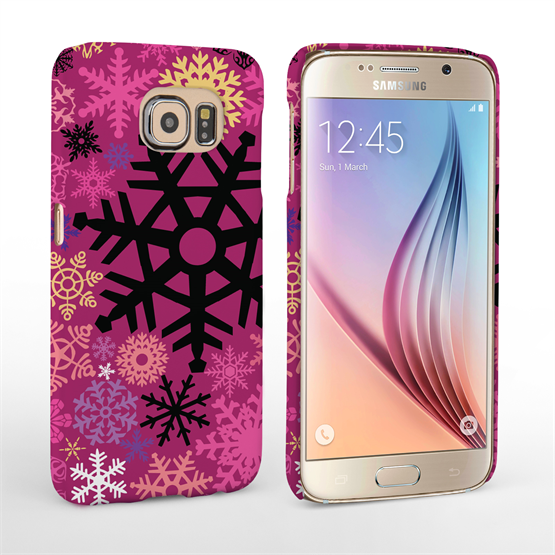 Caseflex Samsung Galaxy S6 Christmas Winter Snowflake Hard Case - Burgundy