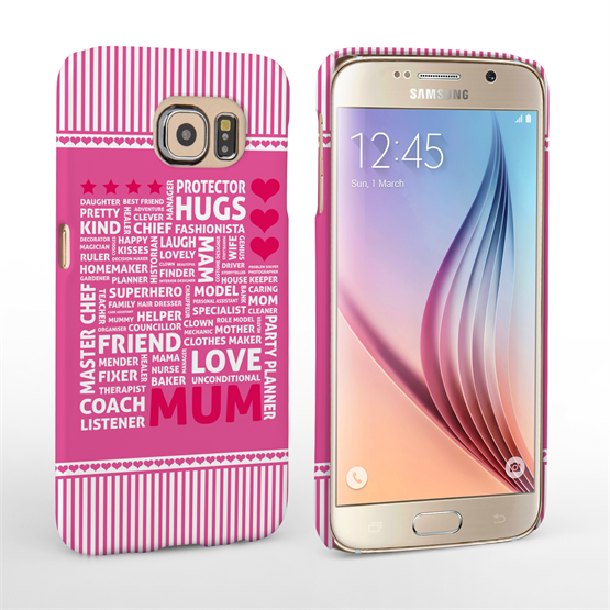Caseflex Samsung Galaxy S6 Mum Word Collage Hard Case – Pink