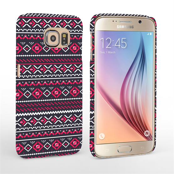 Caseflex Samsung Galaxy S6 Fairisle Case – Grey with Red Background